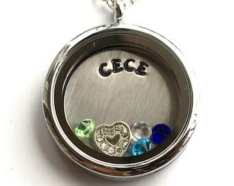 CECE - Floating Charm Locket - Memory Locket - Custom Hand Stamped Gift for Grandma