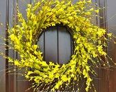 Summer flowers~forsythia wreath~front door wreath~spring wreaths~Fixer Upper~spring flowers~forsythia~yellow wreath