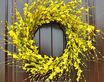 Yellow forsythia flowers~Farmhouse Decor~Yellow wreath~front door wreath~farmhouse wreath~Fixer Upper~forsythia~yellow wreath~summer