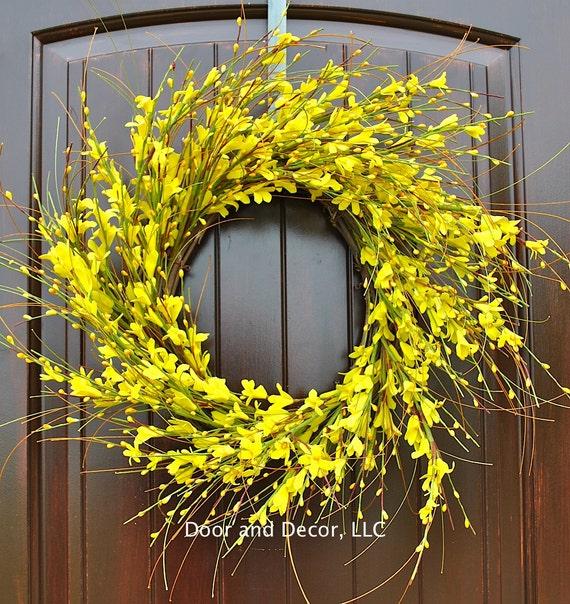 Yellow Flowersforsythia Wreathfront Door By DoorandDecor