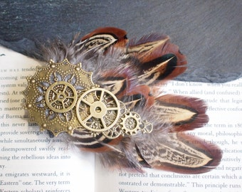 Steampunk Feather Hair Clip Fascinator with Gold Cogs