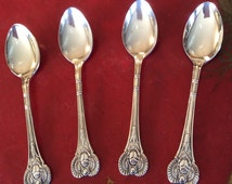 """Vintage """"Antique Egyptian"""" Pattern Silver Plate Demitasse Spoons, Two by Everts Two by Simeon L.& George H. Rogers Company, Oneida Ltd."""