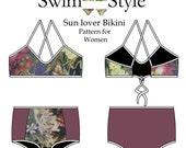 Women s High waist & low waist Sun lover sewing pattern by Swim Style