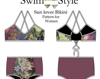 Women s High waist & low waist Sun lover sewing pattern by Swim Style