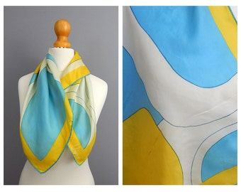1960's Vintage Ugna Silk Scarf with Yellow and Blue Abstract Design