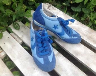 80's BLUE SUEDE CONVERSE AllStars Leather,nylon, Hipster Retro size 7 men. 8.5 Womens