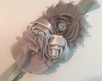 Gray Multi Flower Bling Baby/Toddler Headband