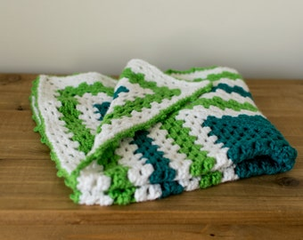 Green Crocheted Receiving Blanket