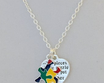 Autism Awareness Necklace, The Pieces of the Puzzle