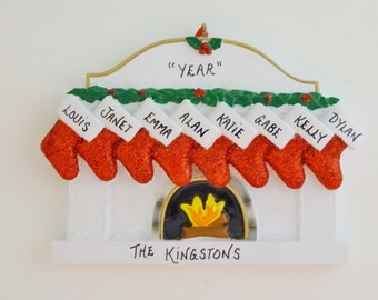 Personalized Family of 8 Fireplace Christmas Ornament