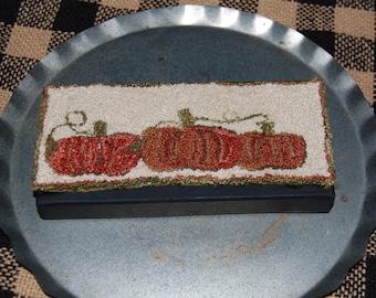 Pumpkin Patch Primitive Punch Needle Keepsake Box