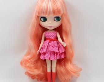 Blythe bright orange hair scalp , Blythe scalp, blythe wig, Blythe accessory, gift for her, blythe hair