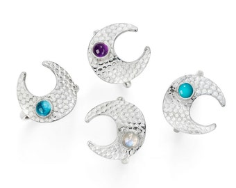 Athena Silver Ring With Turquoise, Moonstone, Amethyst or Blue topaz Cabochon stone
