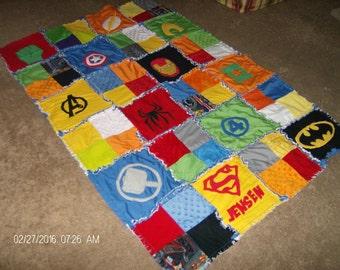 Superhero Super Hero Rag Quilt Comic Cotton and Minky Chenille Applique CRIB Size Blanket Custom Made