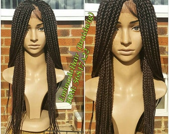 Braided Wig, wholelace/full lace unit, loose braids. 99j colour. 18-20 inches. Braidwig, Braidswig. Glueless, in stock.