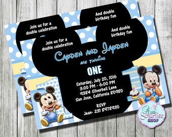 Baby Mickey Mouse 1st Birthday Invitation for TWINS , Twin Boys Birthday Invitation, Birthday Invitation,  PRINTABLE, You Print