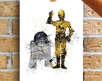 Star Wars Print, r2d2, c3po, r2d2 and c3po, star wars art, star wars poster, star wars wall art star wars decor Star wars Illustration WT232