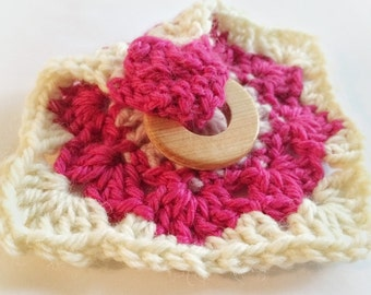 Crochet Soother and Juniper Teether - Strawberry Colorway