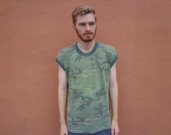 80s Faded Forest Camo Burner Soft & Thin Sleeveless T-Shirt ~ XL