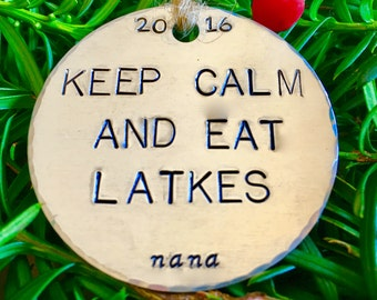 Keep Calm and Eat Latkes/Funny Hanukkah Ornaments/Latkes/Keep Calm/Funny Ornaments/Funny Chanukah/Funny Hanukkah/Chrismukkah Ornaments