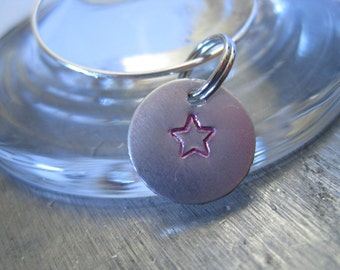 Wine Charms, Star Wine Charms, Stamped Wine Charm, Set of Wine Charms, Wine Glass Charm, Housewarming Gift, Hostess Gift, Wine Lover Gift