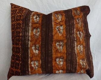 African Batik Cushion Cover - Earthy Brown, Burnt Orange