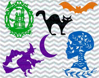 Halloween Files, Witch and Broomstick, Skull, Spooky House, Bat, and Black Cat .SVG/.DXF/.EPS and .Png Files