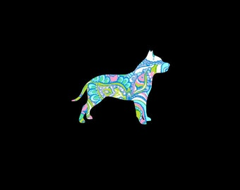 Pit Bull Preppy PrintDecal!  American Pitbull Terrier Dog, Puppy, Choose your Pattern and Size!