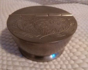 Small Pewter Trinket/Tobacco Box