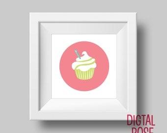 Pink, Cupcake printable, Cupcake wall art, Cupcake Wall art, Home Decor, modern art print, cupcake art, cupcake print digital, print digital