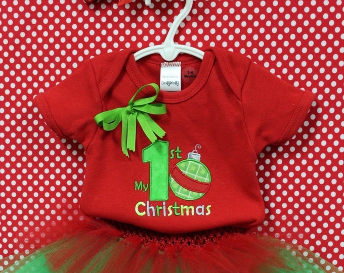 Baby girl  First Christmas Outfit,1st Christmas bodysuit, Baby girl Red Christmas outfit,Red and green tutu, matching Christmas headband