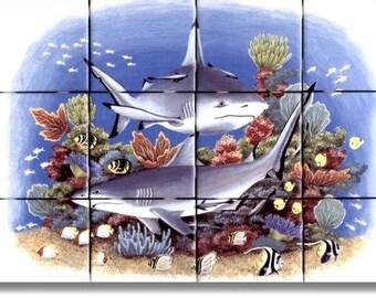 fish of the tropics tile mural ceramic tile range stove. Black Bedroom Furniture Sets. Home Design Ideas