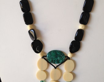 Black, white and green necklace