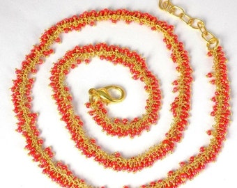 """50% OFF SALE Beautiful Carnelian Hydro Glass Dangling Chain 24k Gold Plated Lobster Lock 18"""""""",Adjustable Beaded Necklace,Muted Orange Neckla"""