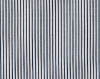 Makower Navy Blue Ticking Stripe 100% Cotton Fabric
