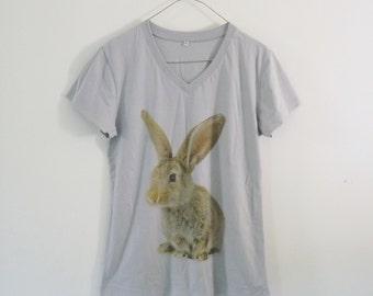 Rabbit tshirt animal printing cotton grey short sleeve **v neck women shirts size M L