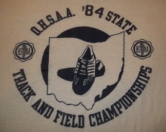 Small Vintage 1984 State Track and Field Championship Soft Burnout Thin 80s ringer t shirt