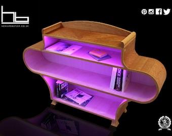 Bookcase, illuminating, console, display, cabinet, living room furniture,70's design, retro, unique open shelving, modern, contemporary,