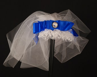Something blue short veil headpiece