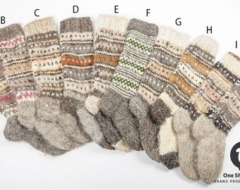 Woolen socks, handmade wool socks, high knee socks, natural wool, woolen hosiery, knitted socks, women's socks, Christmas gift