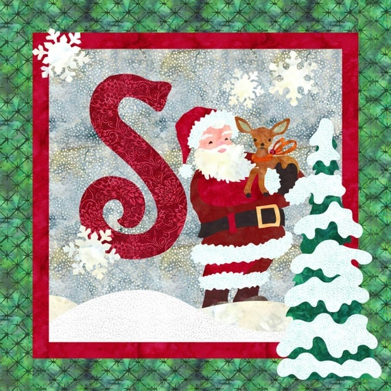 S is for Santa Christmas Quilt Wall Hanging INSTANT