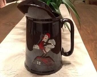 Vintage Brownware Pitcher Rooster Design