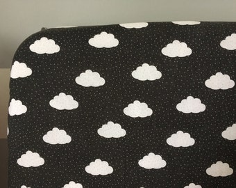 Baby bedding - Crib fitted sheet sheet/cloud/Baby/black and White/Black and White