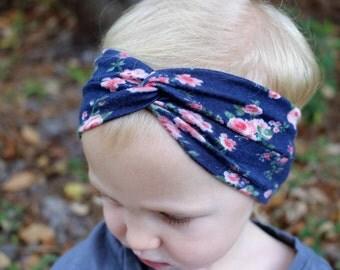 floral turban headband baby/infant/toddler/girls