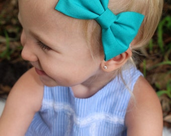 solid teal bow headband baby/toddler/girls