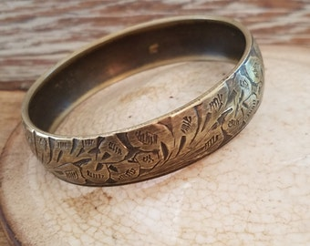 """Vintage bangle bracelet brass size 8"""" bracelet floral design vintage bracelet -OA1878"""