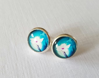 Hibiscus Flower on Blue Background Round Silver Plated Stud Earrings