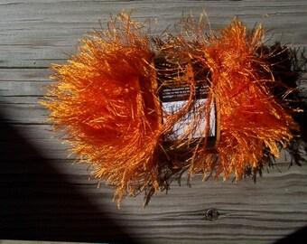 Lion Brand Fun Fur 1 skein Tangerine