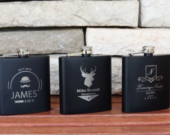 9 Personalized Groomsmen Gifts - Custom Engraved Monogram Flasks Liquor Flasks - Groomsman Best Man Groom Gift