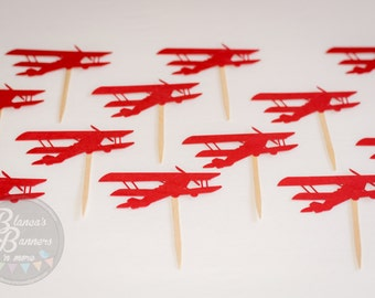 12 Airplane Cupcake Topper Birthday Decorations, Aviation Theme Event Cupcake Toppers